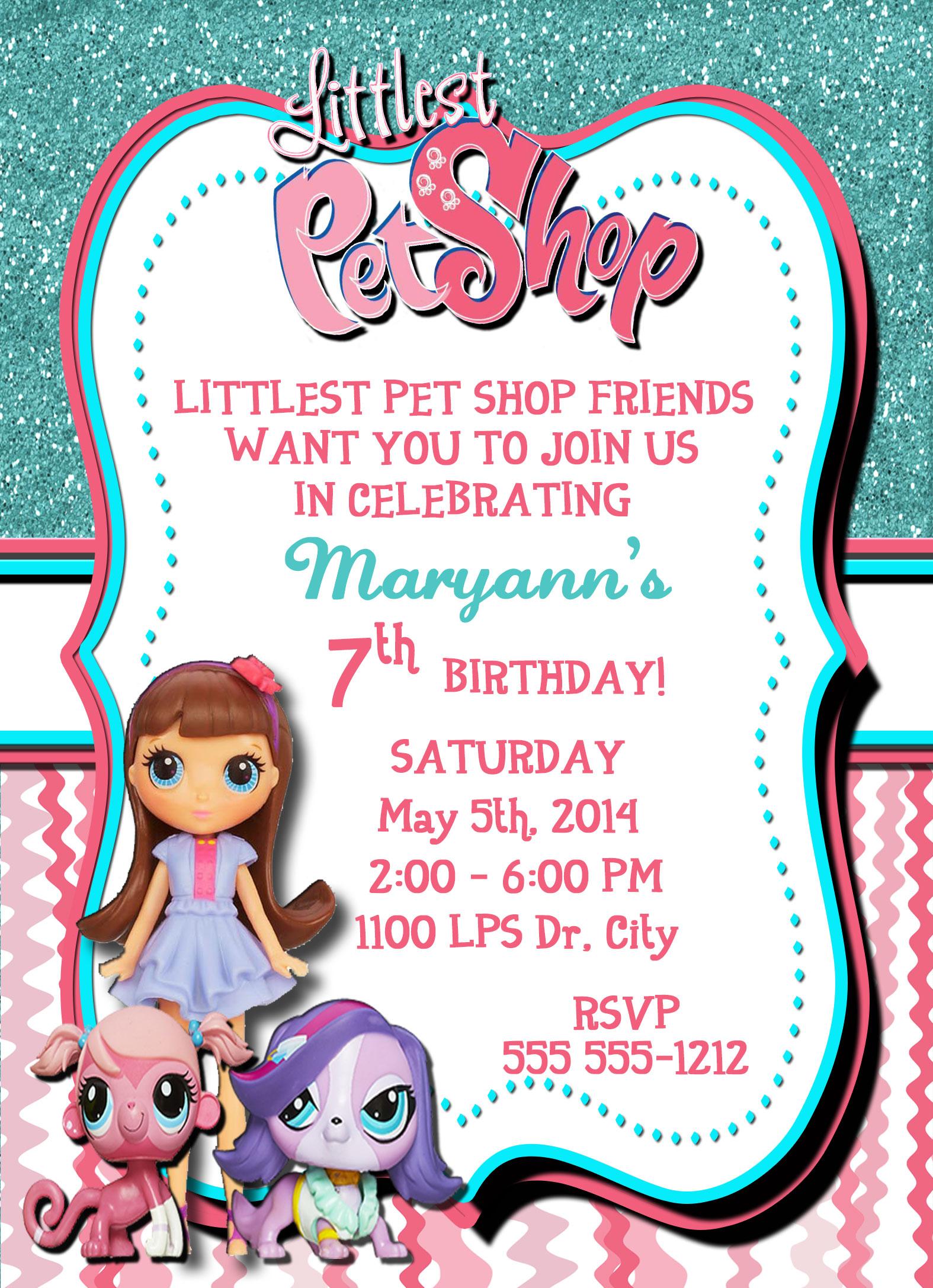 Littlest Pet Shop Personalized Birthday Invitation 1 Sided Birthday