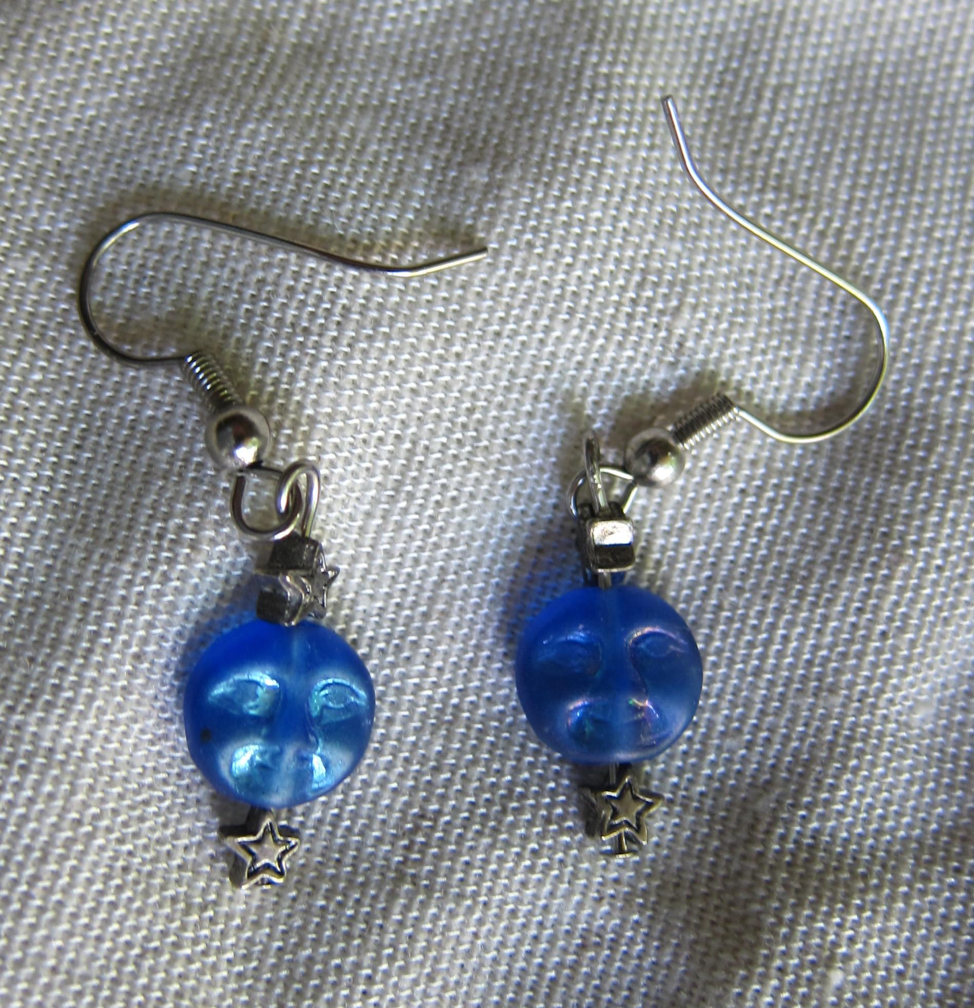 Iridescent Blue Moon Glass Silver Tone Stars Bead Pierced Earrings ...