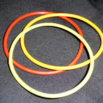 red, orange, yellow 3 jelly bracelets