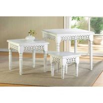 White Scrollwork Nesting Tables