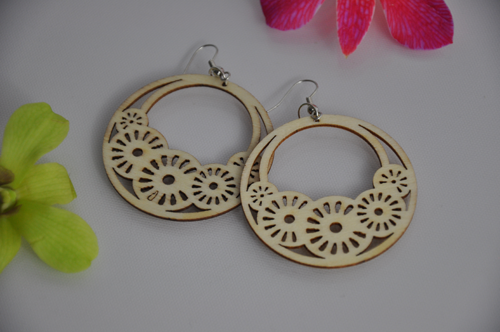 Flowers_in_circle_wood_hook_carving_earring_original