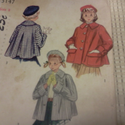Rare & so cute vintage simplicity size 2 girl's coat pants & hat pattern