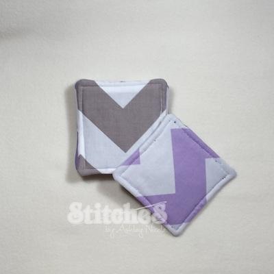 Lavender and Grey Chevron Coasters