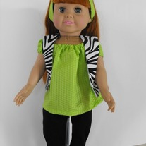 Lime green shirt, zebra vest,black leggings, headband 4 pc.