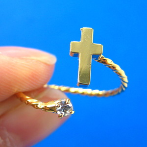 Adjustable Cross Shaped Ring in Gold with Rhinestone Detail