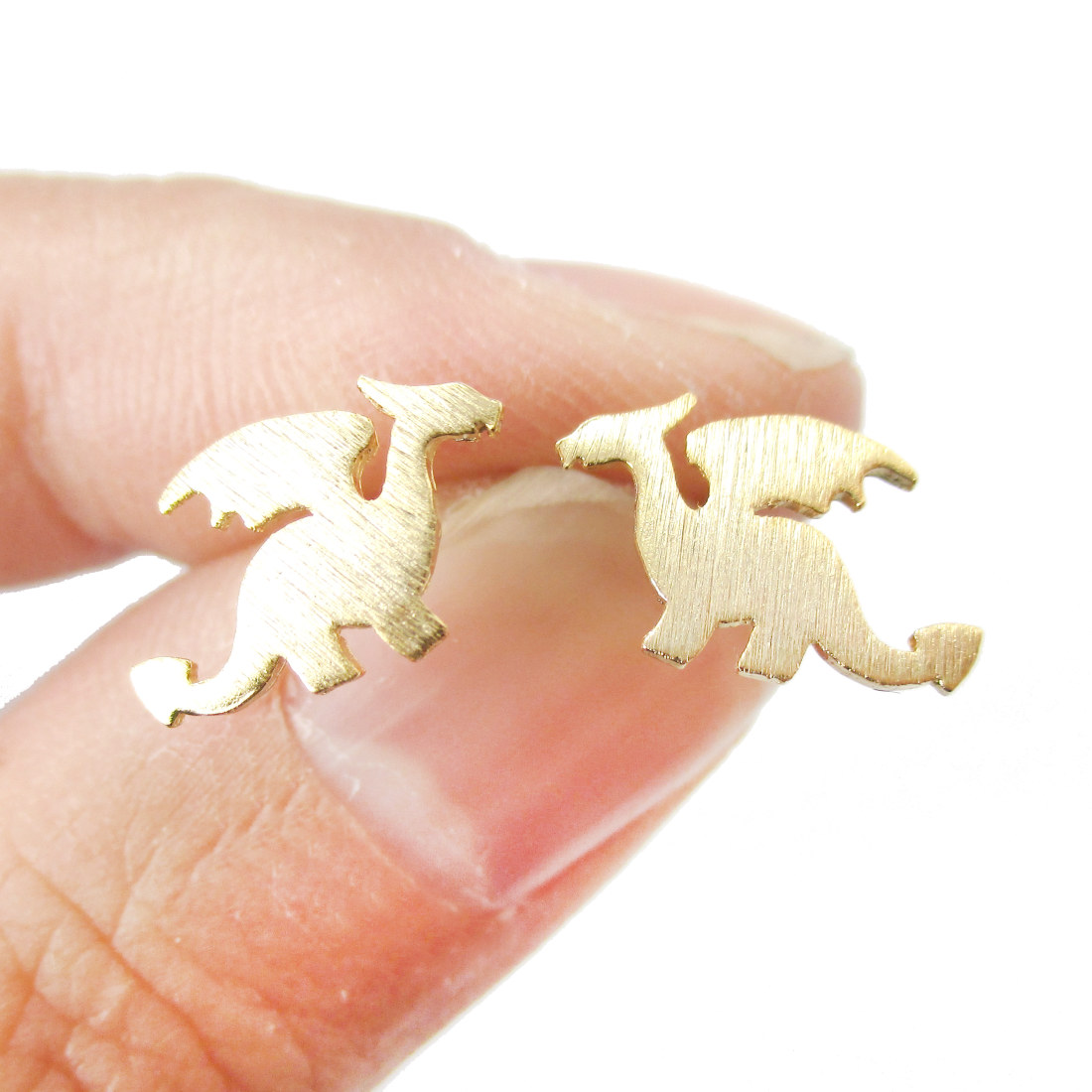 Mythical Creatures Dragon Shaped Silhouette Stud Earrings In Gold