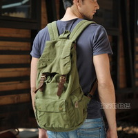 Military green canvas scout field backpack unisex - Thumbnail 1