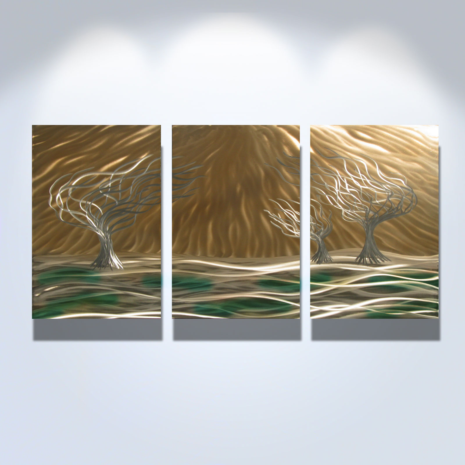 3 trees 3 panel 47 x 24 abstract metal wall art sculpture for 3 panel wall art