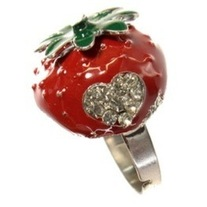 red green enamel decora rockabilly heart rhinestone adjustable strawberry ring