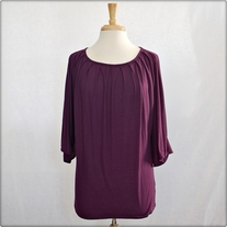 3/4 Sleeve Loose Purple Top