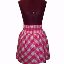 In S, M, & L - pink white checkered gingham rockabilly smocked high waisted skirt