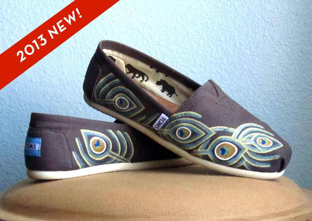 Toms Design colorful indian peacock feather pattern painted toms