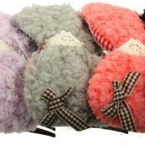 1 pink purple black brown OR gray fuzzy lacy gingham bow hair comb