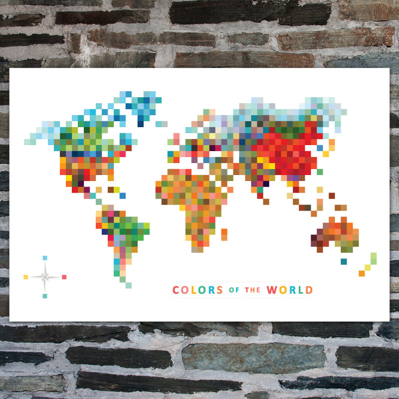 Tofufu Pixel Map Colors Of The World Art Print 20 X 30 Modern
