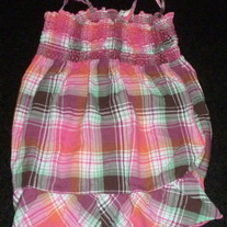 Pink/Green Plaid Spaghetti Strap Top-Arizona Size 10/12
