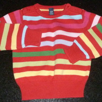 Red Multi Stripe Sweater-Baby Gap Size 18-24 Months