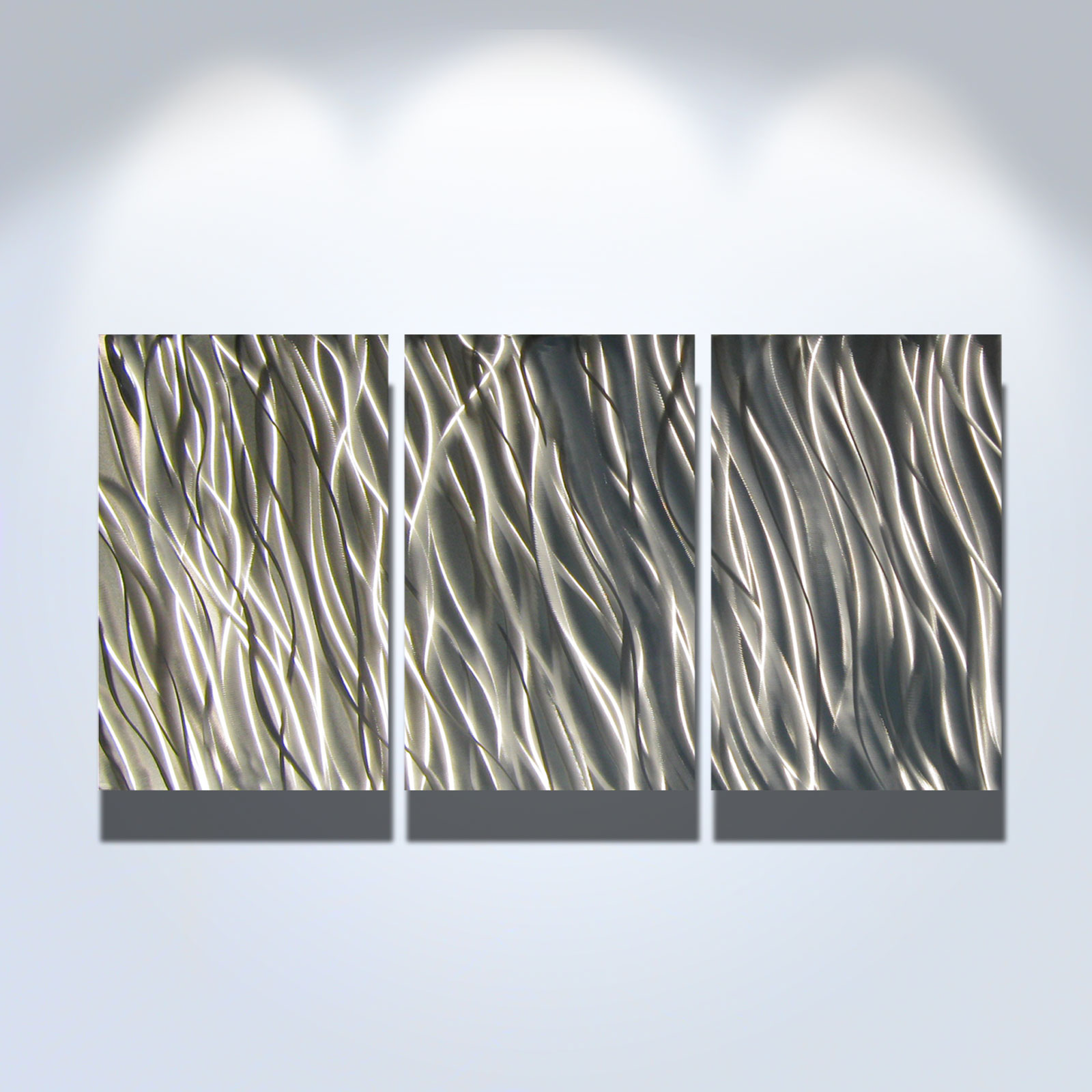 Contemporary Silver Wall Decor : Silver reef metal wall art contemporary modern decor