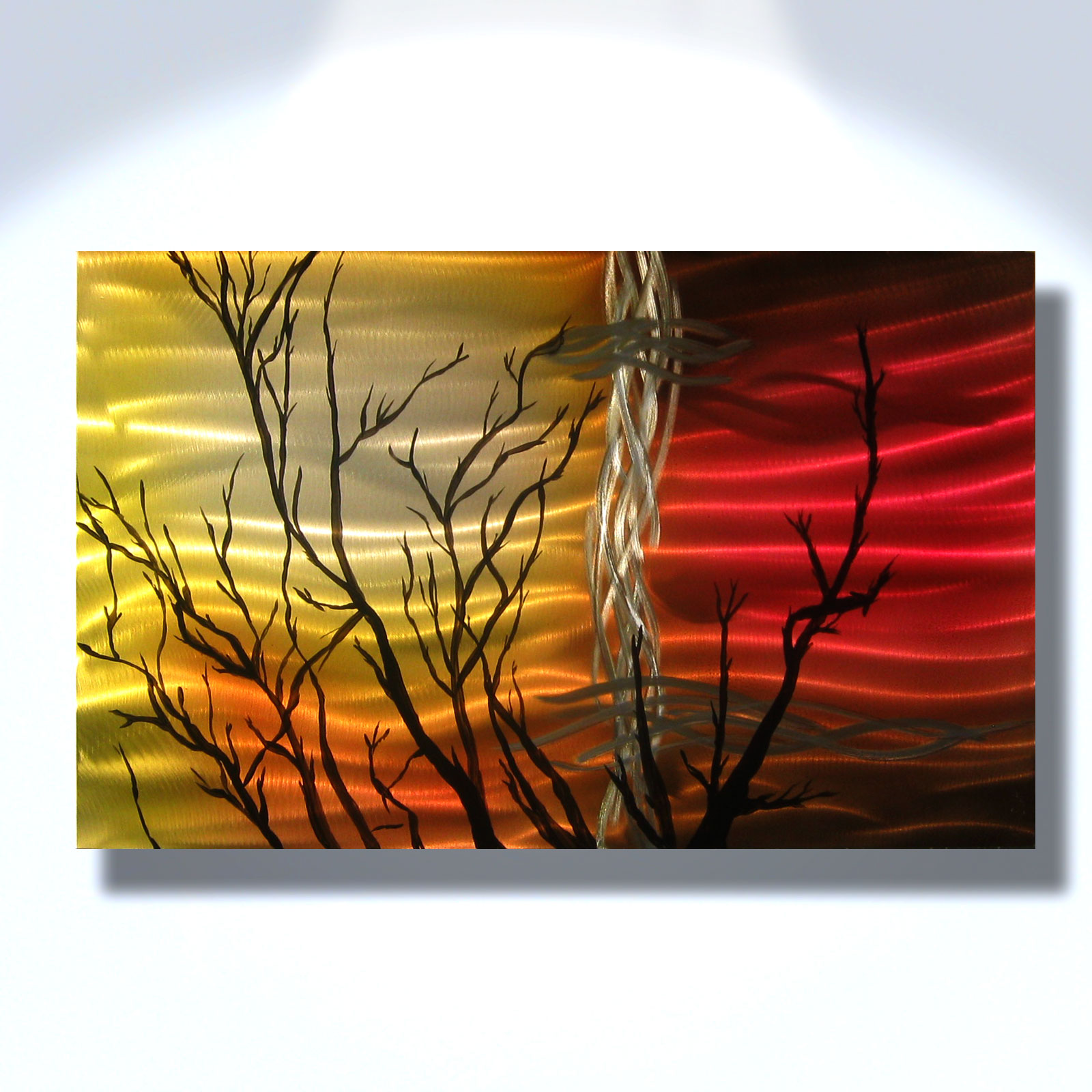 Sunset tree metal wall art abstract sculpture painting modern decor inspiring art gallery - Contemporary wall art decor ...