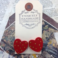 Wood Polka Dot Heart Earrings *Available in other colors