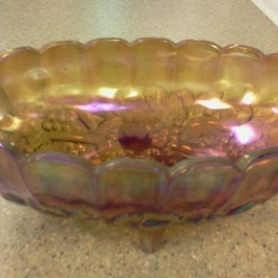 Vintage beautiful large fenton carnival glass bowl georgeous