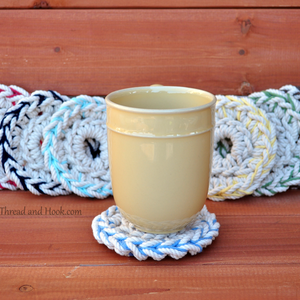 2 Color Rope Coasters - Natural Coasters - Nautical Coasters - Beach Decor