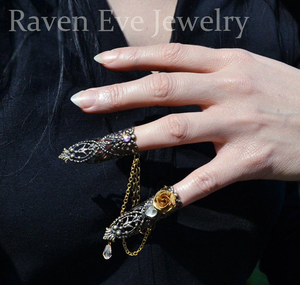 Raven Eve Gothic Jewelry | Goblin Queen Jeweled Nail Armor Rings ...
