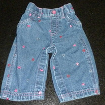 Denim Jeans with Hearts/Crowns-Arizona Size 3-6 Months