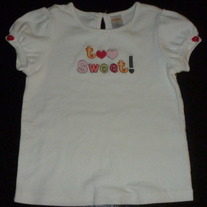 White Short Sleeve Shirt-Too Sweet-Gymboree Size 5T