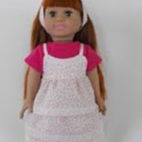 4 Pc. Pink and white shirt, camisole,skirt, headband