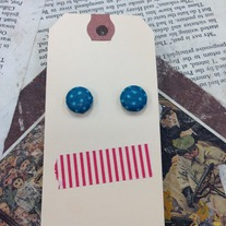 Teal Patterned Button Earrings *More patterns available