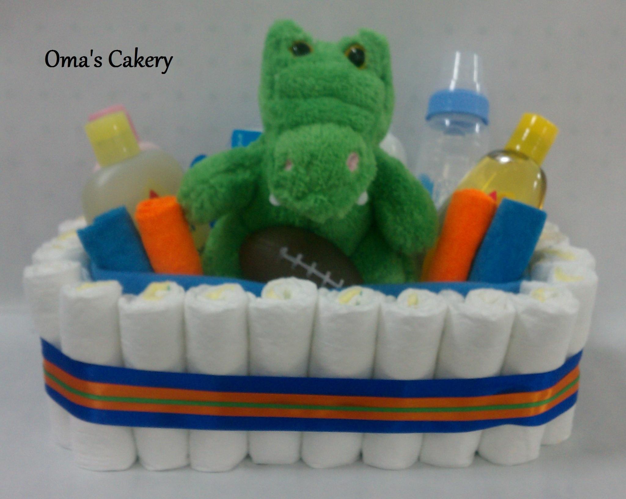 Baby Gift Basket Florida : Oma s cakery gators diaper basket store powered