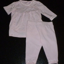 Light Pink Pant Outfit with Silver Stars/Lace-Savannah Baby (Boutique) Size 6 Months  CLM1