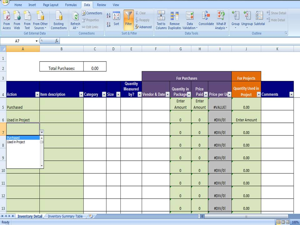 Excel Data Tracking Template