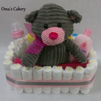 Grey Bear Diaper Basket