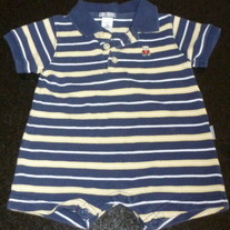 Navy/Yellow Stripe Short Sleeve Polo Style Onesie-Carter's Size 3 Months