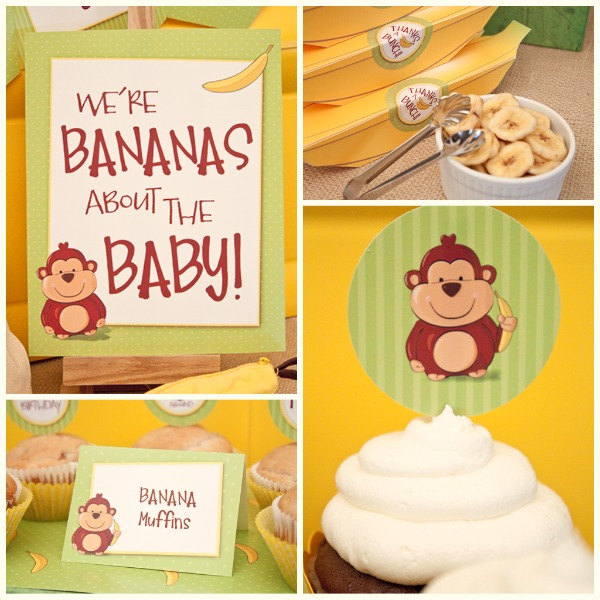 baby shower collection printable monkey themed diy party decorations
