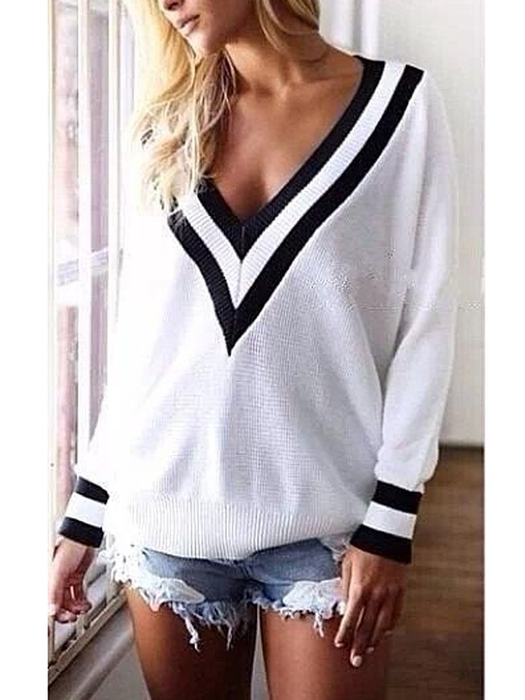 Casual Sexy Deep V-Neck Loose Top Sweater Pullover ZZ1024BF ...