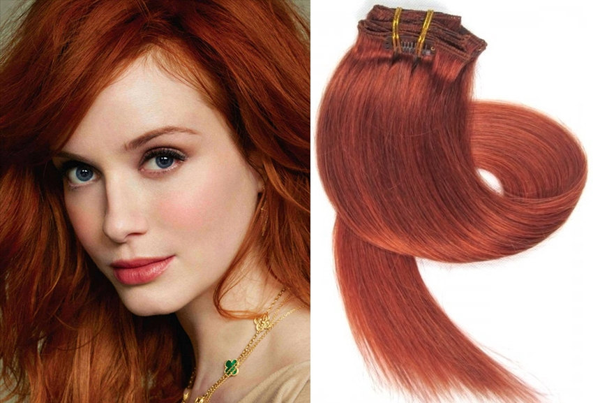 Clip In Real Human Hair Extensions18 Inch Light Auburn Glamorous