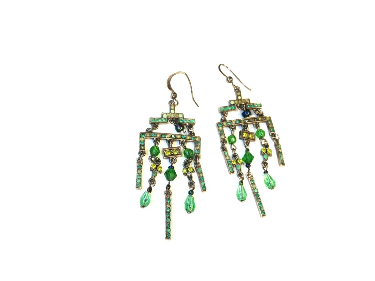 vintage green chandelier earrings 183 white bear