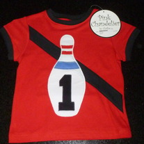 1st Birthday Bowling Pin Shirt-Pink Chandelier by Clothe (Boutique) NEW-No Size--Intended for 1st Birthday