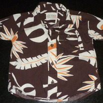 Brown Hawaiian Shirt-Old Navy Size 18-24 Months