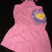 Pink Shorts Romper with Flower-Total Girl Size 7-8