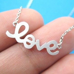 Love Cursive Heart Necklace in Sterling Silver - Great for Valentines Day!