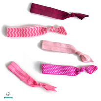 Pink Ponytail Hair Tie Set - Set of 5