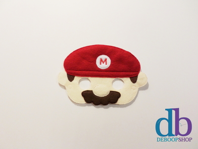 Red Plumber Felt Embroidered Mask