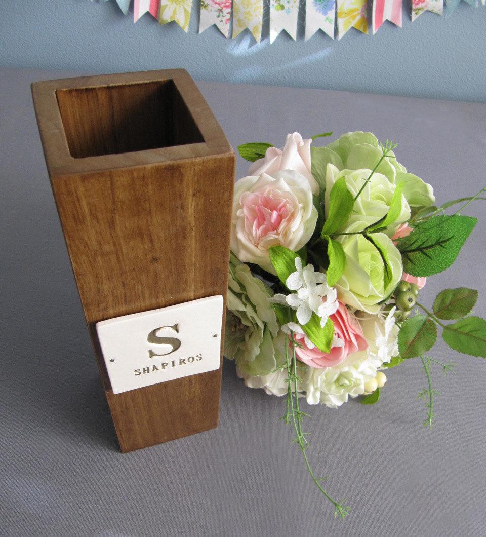 Personalised Vase Wedding Gift : Monogrammed Fruitwood VaseCustom Wedding Gift on Storenvy