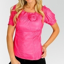In S M & L - Hot Pink Rose Pleated Blouse Silky Cotton Puff Sleeve Top