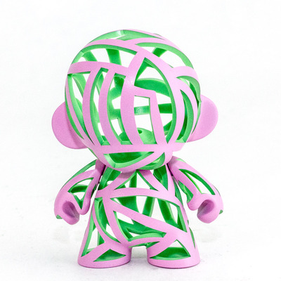 "Pink and green 4"" munny"