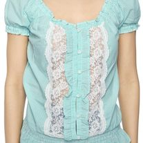 In M & L - mint green white lace stripe puff sleeve blouse top