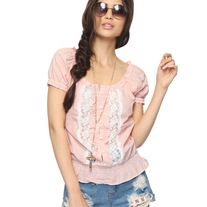 S peach pink white lace stripe puff sleeve blouse top